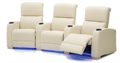 White Home Theater Seating With Lights