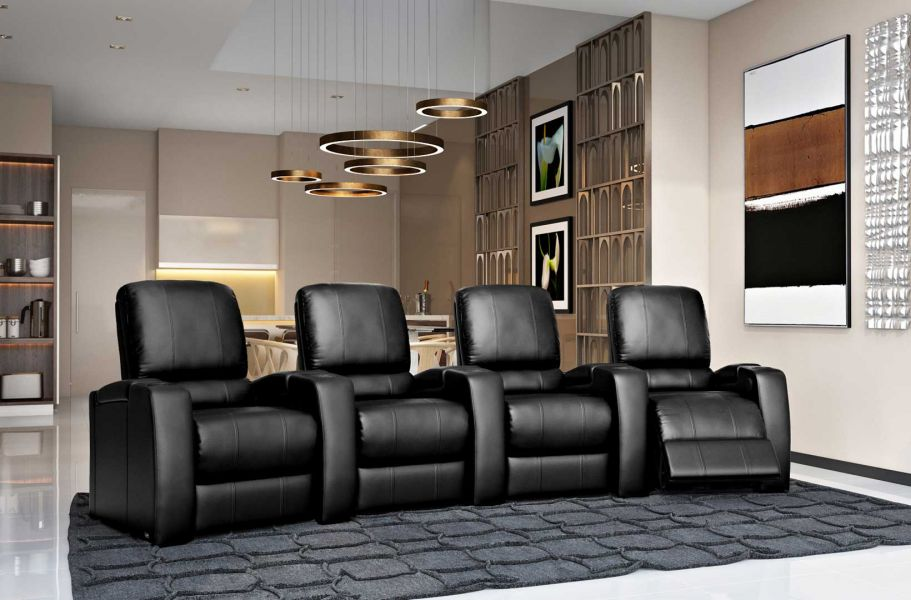 Magnolia Home Theater Seating in Black Top Grain Leather