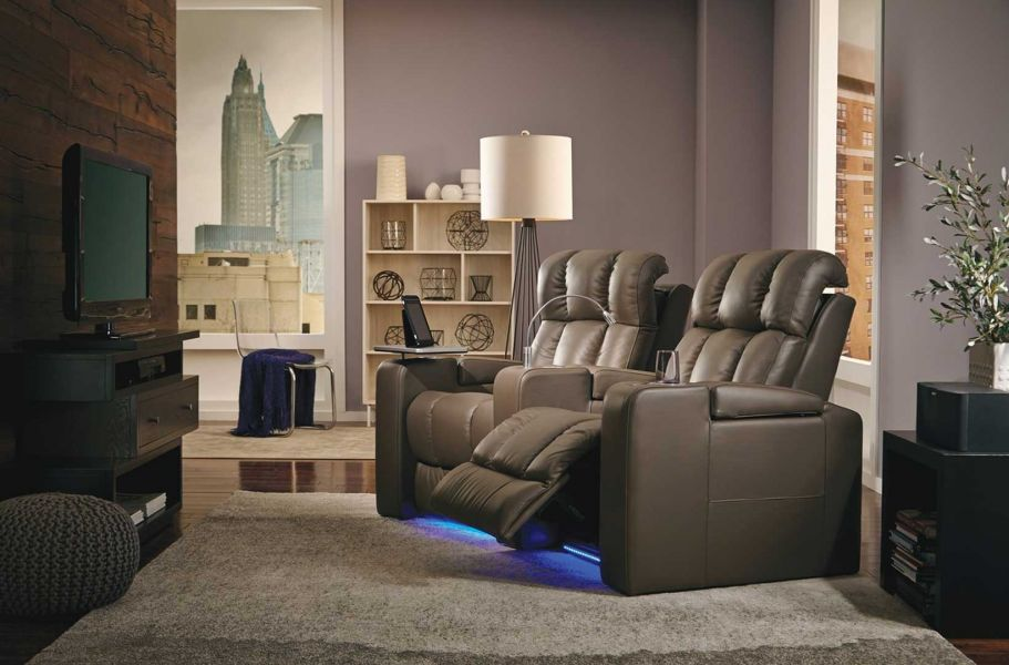 Palliser Ovation Home Theater Seating in Brown Leather Row 2 Curved with Lights and Storage Arms
