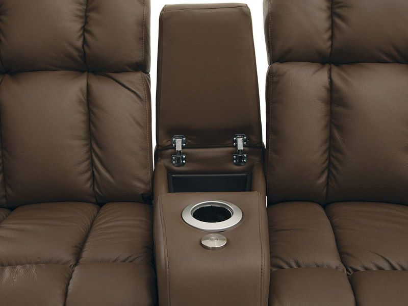 Palliser Ovation Home Theater Seat in Brown Leather Row 2 Curved with Lights and Storage Arms