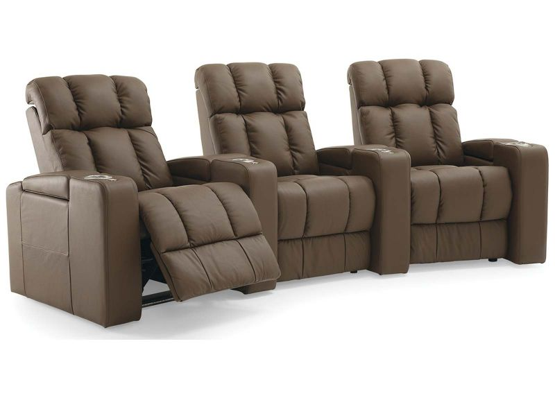 Palliser Ovation Theatre Seats Chairs in Brown Leather Row 3 Curved with Lights and Storage Arms
